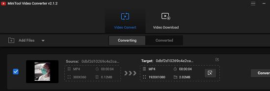 Minitool Video Converter UI
