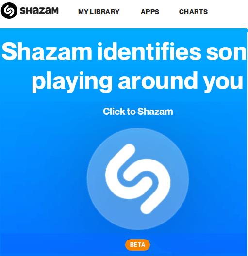 Shazam Web Online UI