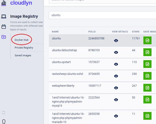 Cloudlyn docker hub integration