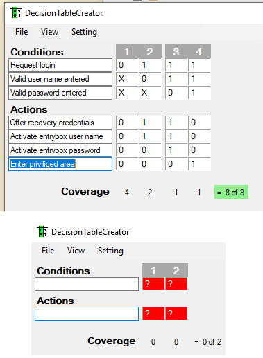 Decision Table Creator in action