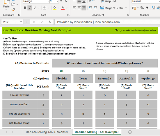 Decision making tool excel
