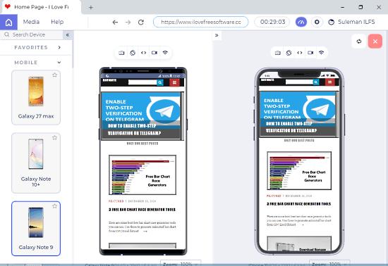 desktop app to test mobile website