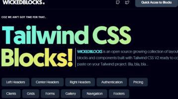 Open Source Tailwind CSS Blocks, Layouts for Websites WickedBlocks
