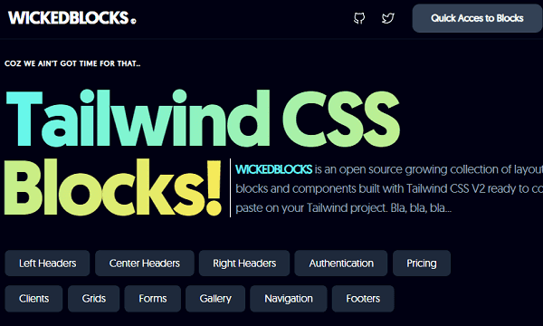 Free Open Source Tailwind CSS Blocks, Layouts for Websites: WickedBlocks