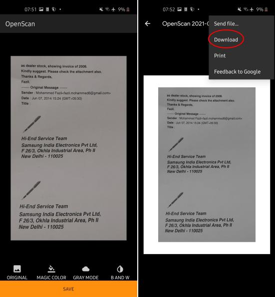 OpenScan Export