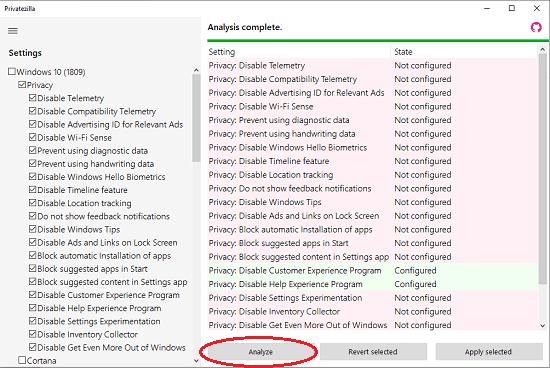 Privatezilla analzye settings