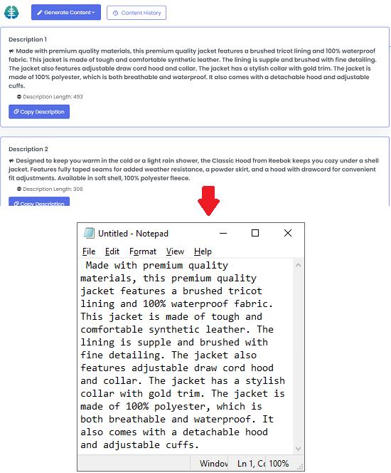 TextCortex AI generate automated product description