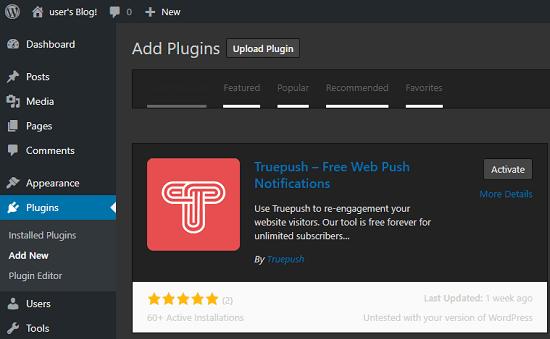 Truepush in WordPress Plugins Directory