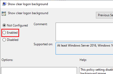 enable clear logon background