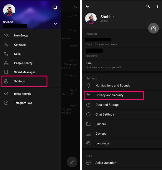 telegram privacy settings
