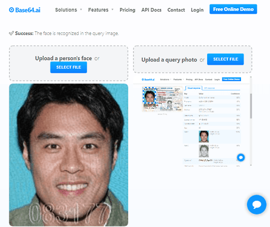 compare photo with face scan in documents