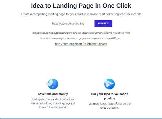 turn startup idea into landing pages