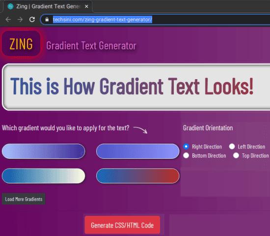 zing text gradient generator