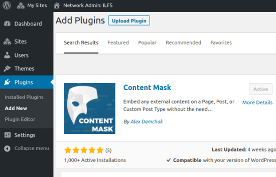 Content Mask in WordPress