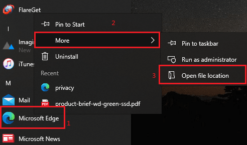 Edge location menu