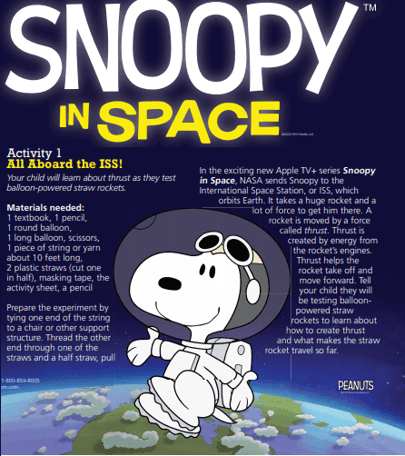 Free Lesson Plans about Smoopy in Space for Teachers and Parents