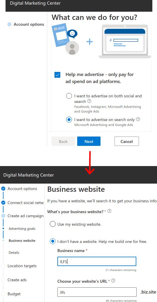 Microsoft digital marketing center opt to create a website