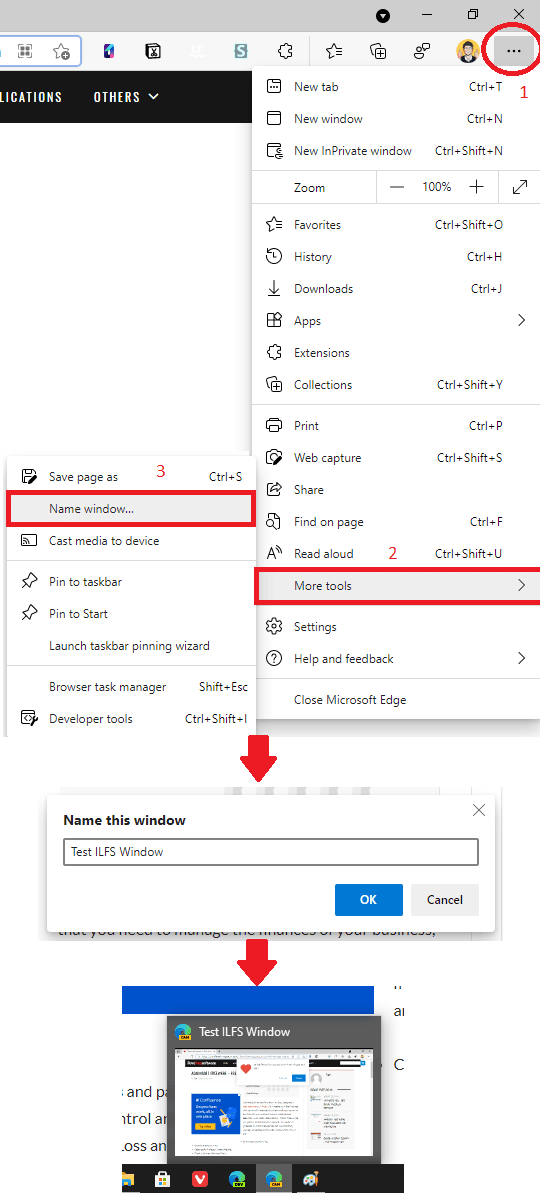 Name Window Feature in Microsft Edge Browser