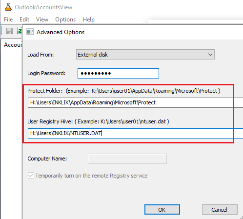 OutlookAccountsView enter password