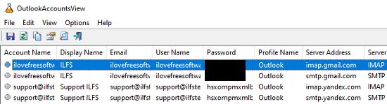 OutlookAccountsView list all profiles