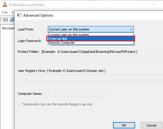 OutlookAccountsView select disk