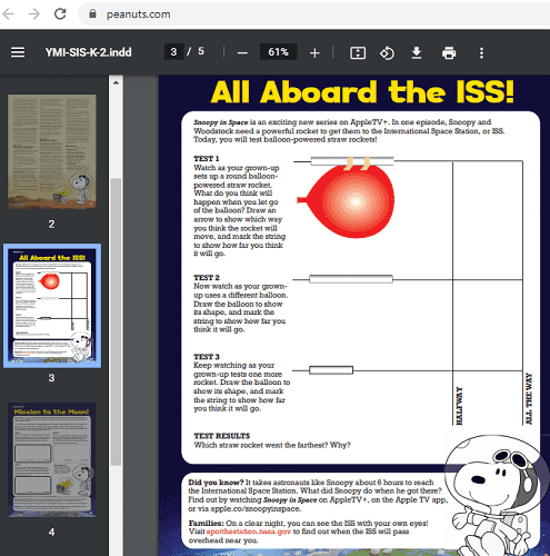 Peanuts Snoopy in space lesson in action PDF