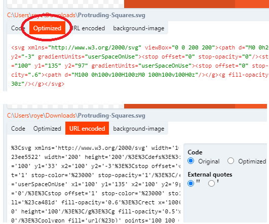 SVGX url encode and optimization