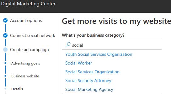 Specify website type microsoft digital marketing center