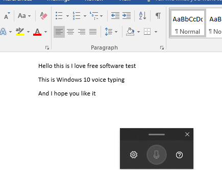 Win + H to activate voice typing windows 10 ms word