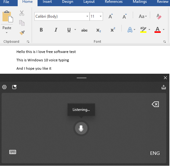 Windows 10 Voice Typing in Tablet Mode Keyboard