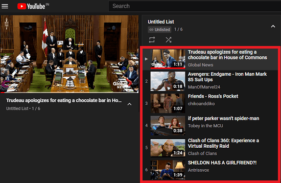 YouTube Playlist created without Google Account in action