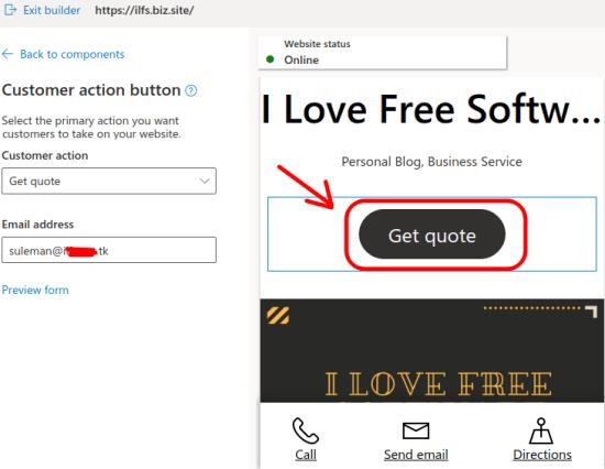 customer actions microsoft website builder