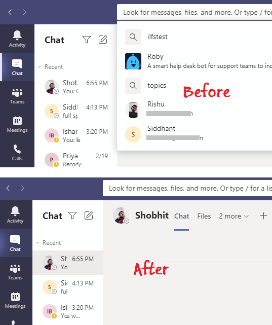 how to clear search history in microsoft teams