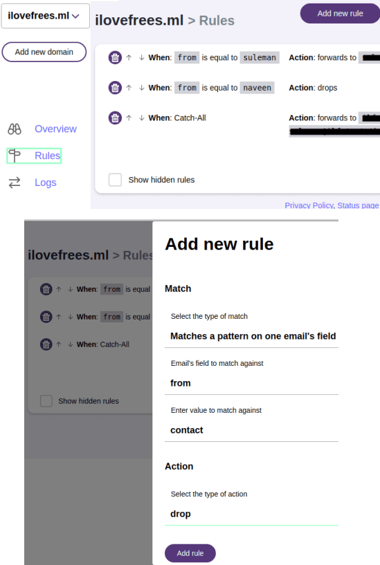 mailway rules create and apply