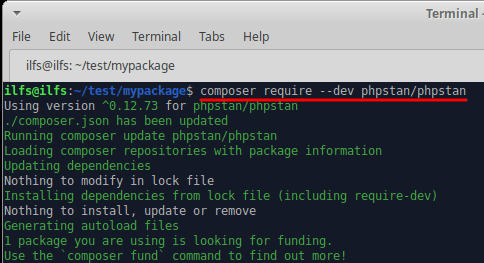 php stan install or add as a dependency