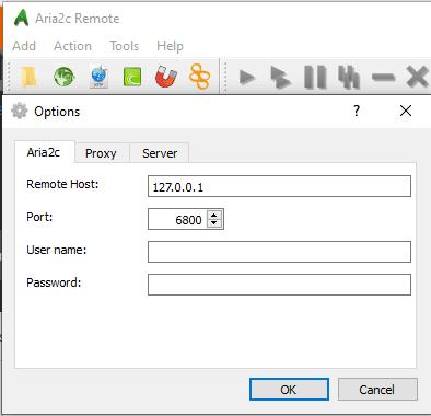 Aria2c Remote Control aria2c server settings