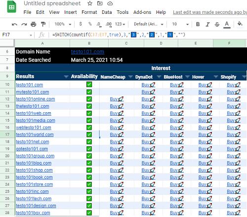 Bulk Check Domain Availability in Google Sheets GSheetDomains