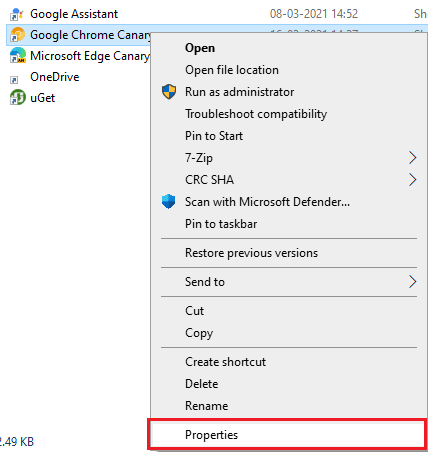 Chrome shortcut properties