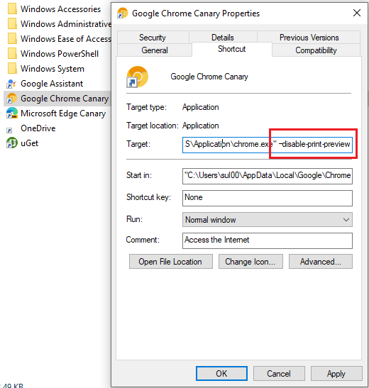 Disable System Print in Chrome
