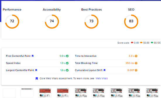 Google page experience checker to test websites for Google Core Web Vitals
