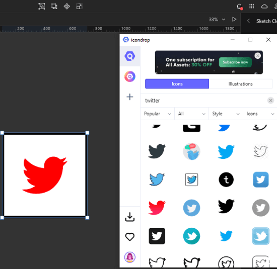 IconScout drag and drop in editor