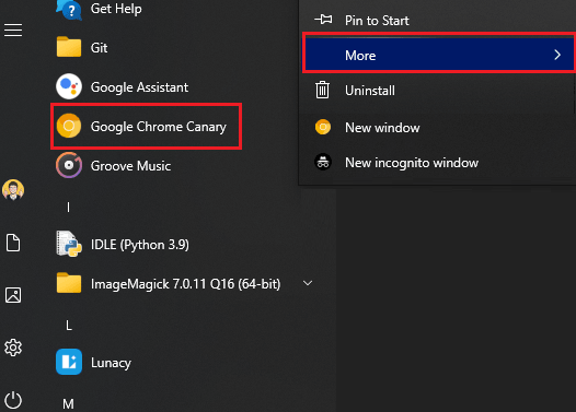 Open Chrome Canary Shortcut from Start