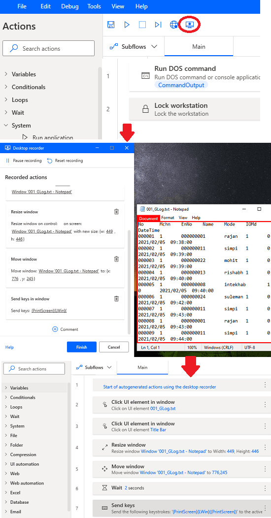 Power Automate Desktop Workflow created