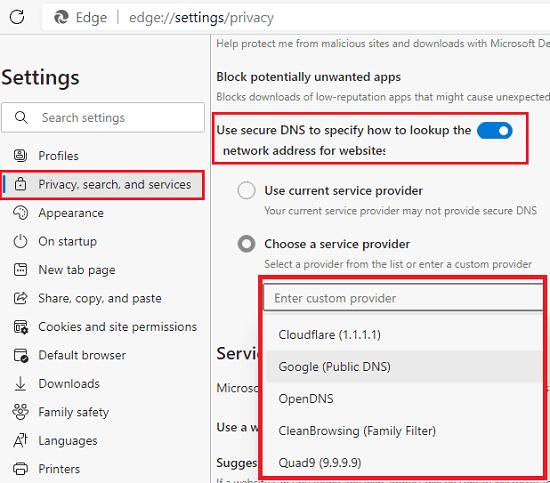 Secure DNS Microsoft Edge