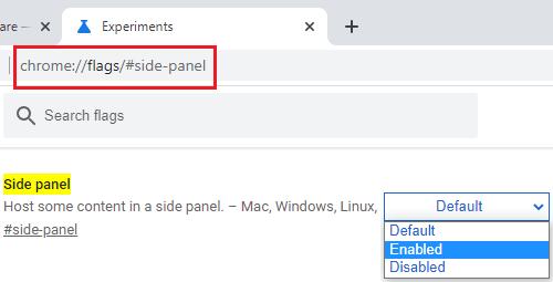 Side panel Google Chrome Flag