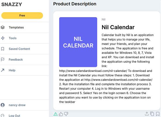 Snazzy AI Product description
