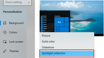 Spotlight collection enabled in Windows 10 wallpaper setting