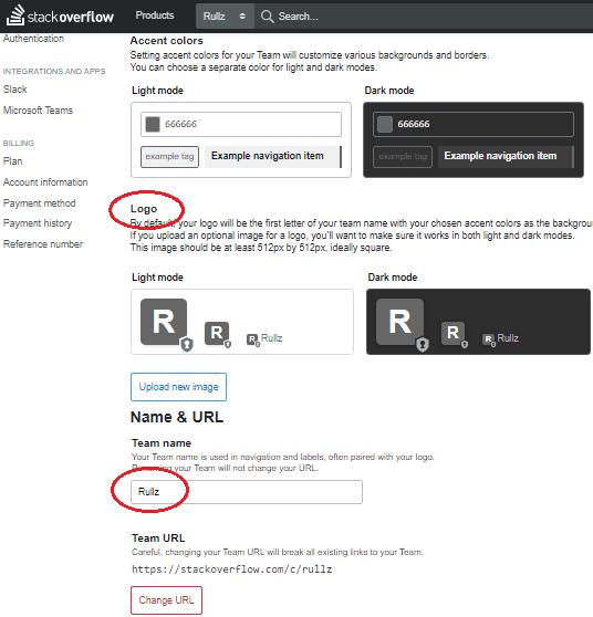 Stack Overflow Teams Change Theme Link Logo
