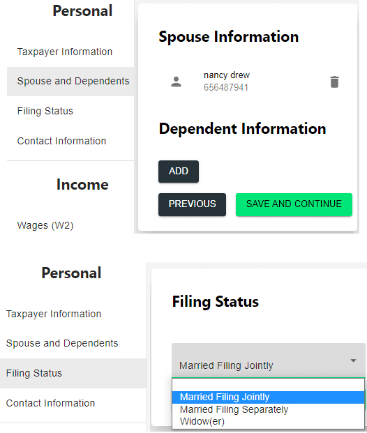 US Taxes Spouse Information and Filing Status