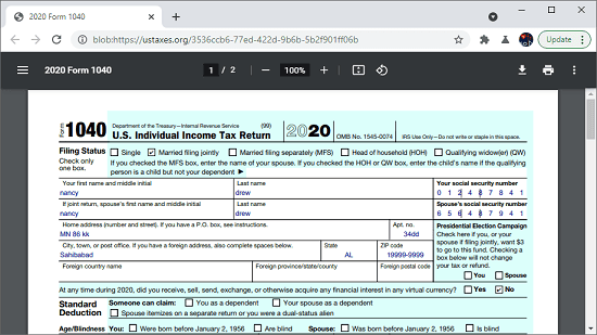 US Taxes final generated tax form
